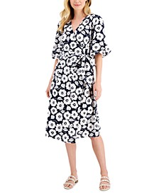 Petite Floral-Print Wrap Dress, Created for Macy's