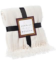 "Decorative Zigzag Stripe Pattern Knit Throw Blanket with Fringe, 60"" x 50"""