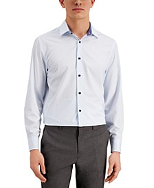 Con.Struct Men's Slim-Fit Cooling Comfort Performance Stretch Dotted Grid-Print Dress Shirt with Pleated Face Mask, Created for Macy's