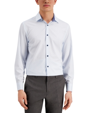 Con. Struct Men's Slim-Fit Cooling Comfort Performance Stretch Dotted Grid-Print Dress Shirt with Pleated Face Mask