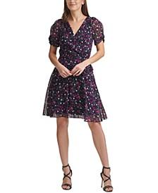 Floral-Print Knot-Sleeve Faux-Wrap Dress