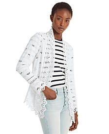 Embroidered Open Front Blazer