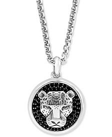 "EFFY® Men's Black Spinel Panther 22"" Pendant Necklace in Sterling Silver"