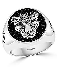 EFFY® Men's Black Spinel Panther Ring in Sterling Silver
