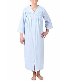 Seersucker Embroidered Gingham Robe