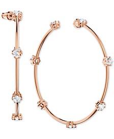 """Rose Gold-Tone Large Crystal Hoop Earrings, 2.5"""""""