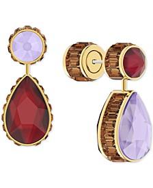 Gold-Tone Mismatch Crystal Drop Earrings