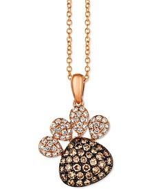 "Chocolate Diamond (1/2 ct. t.w.) & Vanilla Diamond (1/4 ct. t.w.) Paw 18"" Pendant Necklace in 14k Rose Gold"