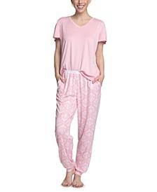 Flounce-Sleeve Top & Jogger Pants Pajama Set