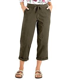 Cotton Drawstring-Waist Capri Pants, Created for Macy's
