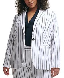 Trendy Plus Size Striped Blazer