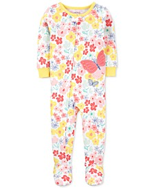 Baby Girls Butterfly Snug Fit Cotton Footie Pajama