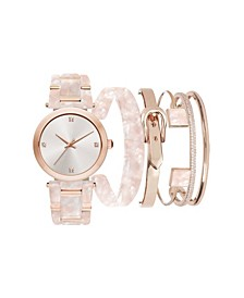 Women's Blush Marble Resin Strap Analog Watch with Stackable Bracelets Gift Set