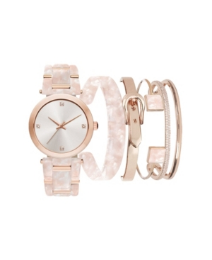 Jessica Carlyle Women's Blush Marble Resin Strap Analog Watch with Stackable Bracelets Gift Set