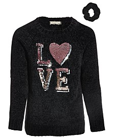 Little Girls Love Chenille Sweater with Scrunchie