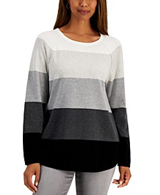 Petite Colorblocked Cotton Sweater, Created for Macy's