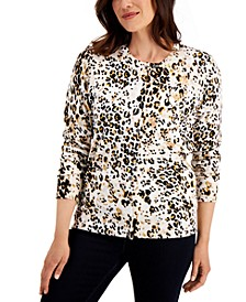 Petite Spotted Sands Printed Cardigan, Created for Macy's