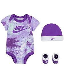 Baby Girls 3-Pc. Tie-Dye Bodysuit, Hat & Booties Set