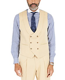 Men's Classic-Fit Solid Tan Suit Separates Double-Breasted Vest