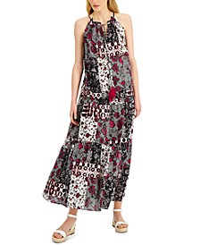 Petite Tiered Halter-Neck Maxi Dress, Created for Macy's