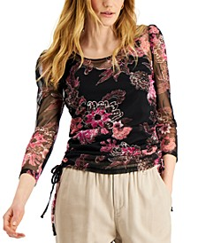 INC Sheer Floral-Print Drawstring Top, Created for Macy's