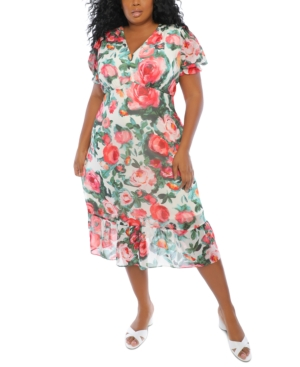 Plus Size Printed Puff-Sleeve Midi Dress