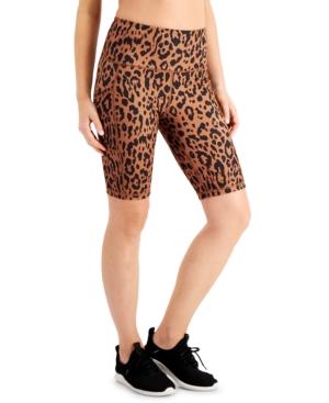 Animal-Print High-Rise Bike Shorts