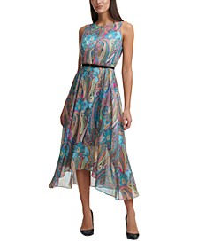 Printed Belted Maxi Dress