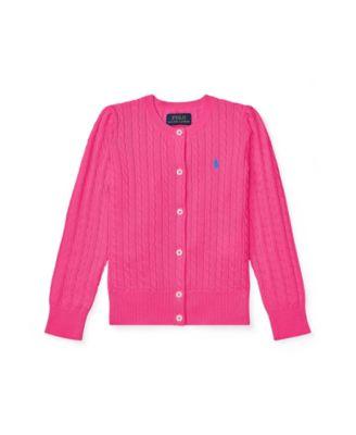 폴로 랄프로렌 여아용 미니 꽈배기 가디건 - 핑크 Polo Ralph Lauren Little Girls Mini Cable Cardigan