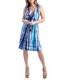 Women's V-Neck Sleeveless Tie Dye Summer Dress