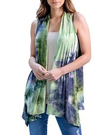 Women's Tie Dye Sleeveless Collared Cardigan Vest