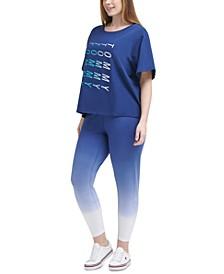 Plus Size Logo-Print T-Shirt & Dip-Dye Leggings