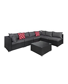 7 Piece Outdoor Patio Rattan Wicker Sectional Modular Seating Set with Cushions