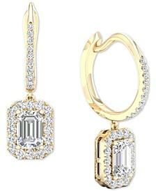 Diamond Halo Dangle Hoop Earrings (1-1/2 ct. t.w.) in 14k Gold
