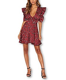 Women's Animal Print Puff Sleeve Wrap Dress