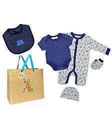Baby Boys Animals Layette Gift Set in Mesh Bag, 5 Piece