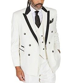 Men's Classic-Fit Solid White Suit Separates Double-Breasted Jacket