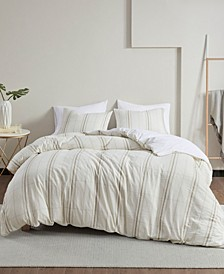 Hollis Full/Queen 3 Piece Yarn Dyed Oversized Duvet Cover Set