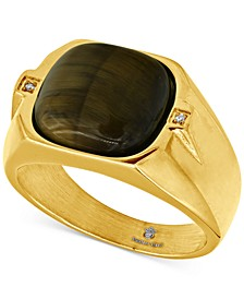 Men's Tiger's Eye & Cubic Zirconia Ring in Yellow Ion-Plated Stainless Steel