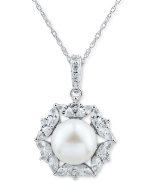 """Cultured Freshwater Pearl (9mm) & Cubic Zirconia Halo 18"""" Pendant Necklace in Sterling Silver"""