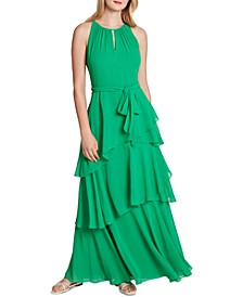 Tiered Ruffle Chiffon Gown