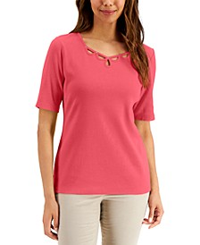 Cotton Elbow-Sleeve Top, Created for Macy's