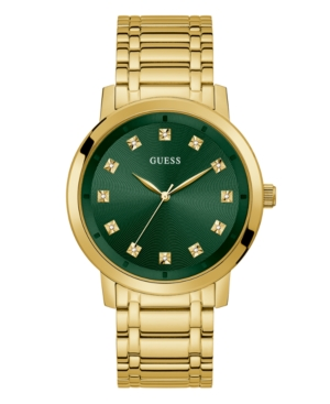 GUESS MEN'S DIAMOND-ACCENT GOLD-TONE STAINLESS STEEL WATCH 44MM