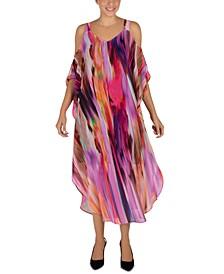 Cold-Shoulder Printed Maxi Dress