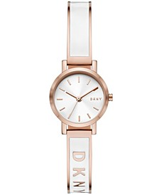 Women's Soho Three-Hand White and Rose Gold-Tone Stainless Steel Bangle Bracelet Watch, 24mm