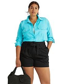 Plus Size Linen Buttoned Top