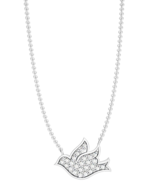 Diamond Pave 1/4 ct. t.w. Flying Dove Necklace in Sterling Silver