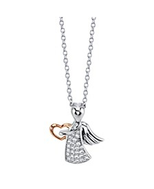 Rose Gold Two-Tone Fine Silver Plated Crystal Angel and Heart Pendant Necklace