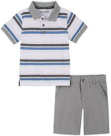 Little Boys Stripes Woven Shirt with Twill Short Set, 2 Piece