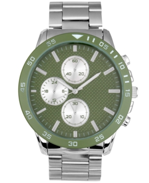 INC INTERNATIONAL CONCEPTS MEN'S IMITATION CHRONOGRAPH SILVER-TONE LINK BRACELET WATCH 48MM, CREATED FOR MACY'S